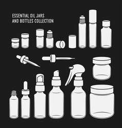 Essential oil jars and bottles design set vector