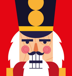 Face of nutcracker soldier toy icon vector