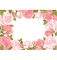 floral frame with rose flowers vector image