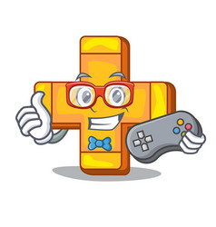 Gamer retro plus sign addition symbol cartoon vector