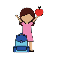 girl with backpack and apple back to school vector image