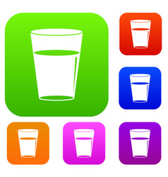 glass water set color collection vector image