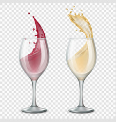 glass wine alcoholic drinks splashes flowing red vector image