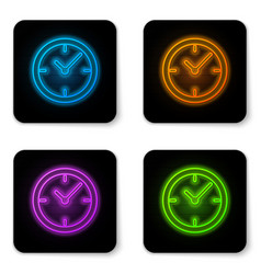 glowing neon clock icon isolated on white vector image
