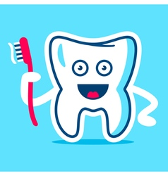 Good Tooth with the brush in the hand vector image
