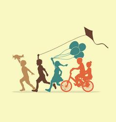 Group children running friendship graphic vector
