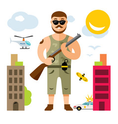 gunman with rifle flat style colorful vector image