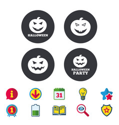 Halloween party icons pumpkin symbol vector