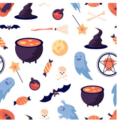 halloween pattern pumpkin bat witch broomstick vector image
