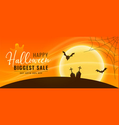 halloween sale banner with flying bats and vector image