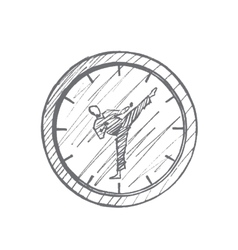Hand drawn clock with karateka instead of hands vector