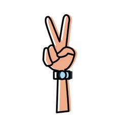 hand peace symbol vector image
