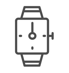 hand watch line icon square wrist watch vector image