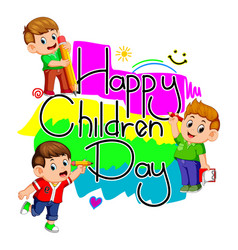 Happy children day with kids holding pencil vector