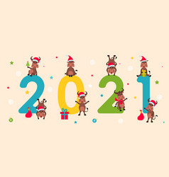 happy new year 2021 collection characters of vector image