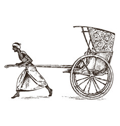 hindu farmer with rickshaw working with a cart vector image