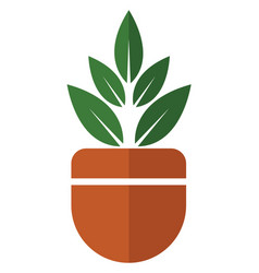 Home grown plant in a pot on white background vector