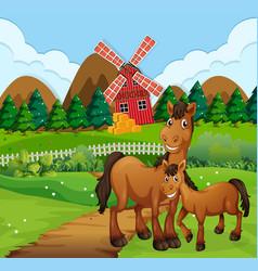 Horses in farm scene vector