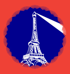 image of the eiffel tower in the colors of vector image