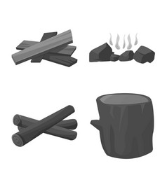 Isolated object forest and hardwood icon set vector