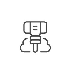 Jackhammer tool line outline icon vector