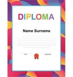 Kids Diploma certificate background design vector image
