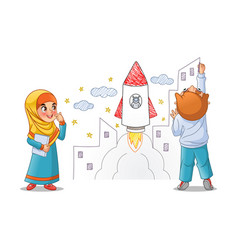 Kids paint draw space rocket on the wall vector