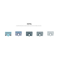 Kotel icon in different style two colored and vector