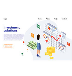 landing page template investment solutions vector image
