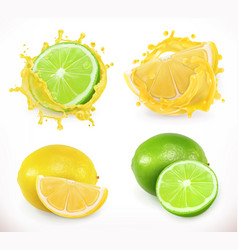 Lemon and lime juice fresh fruit 3d icon vector