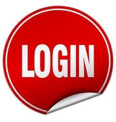 Login round red sticker isolated on white vector