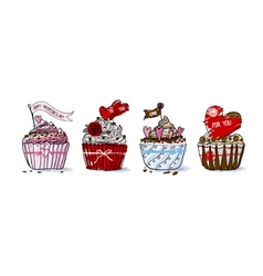 Love conbcept of cupcake design for valentines day vector image