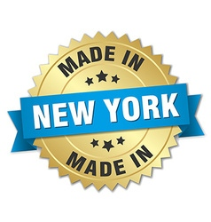 made in New York gold badge with blue ribbon vector image
