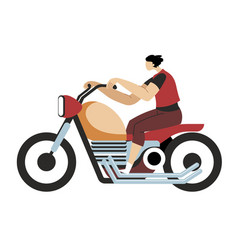 man driving motorcycle motorcyclist riding vector image