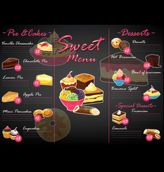 menu dessert sweet food template chocolate vector image
