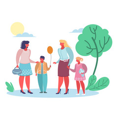 moms talking to each other flat style vector image