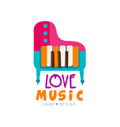 Music logo with colorful grand piano large vector