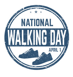national walking day sign or stamp vector image