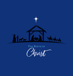 nativity scene silhouette jesus in manger vector image