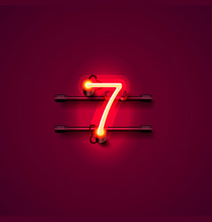 neon city font sign number 7 signboard seven vector image