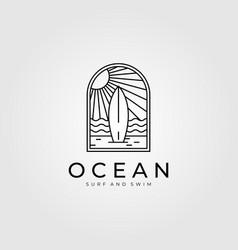 Ocean surf line art logo design beach logo design vector