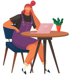office woman at desk with tablet pc businesswoman vector image