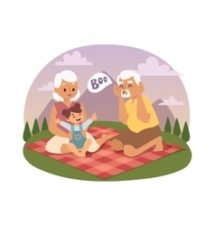 Old people family picnicking summer vector image