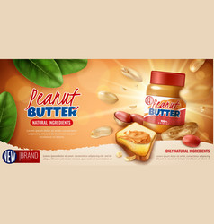 Peanut butter advertising poster vector