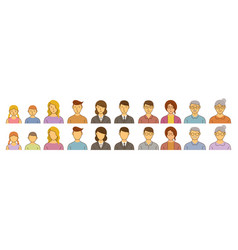 People avatar various ages set vector