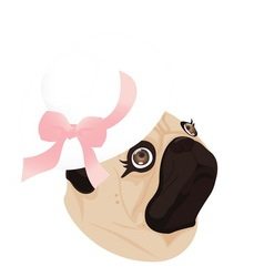 pug lady dog ribbon vector image