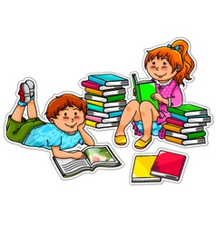 Reading kids vector