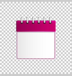 Realistic calendar purple isolated object vector