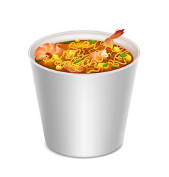 realistic detailed 3d instant noodles in blank vector image
