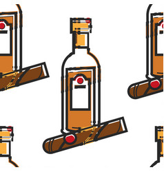 Rum bottle and cigar cuban drink and tobacco vector
